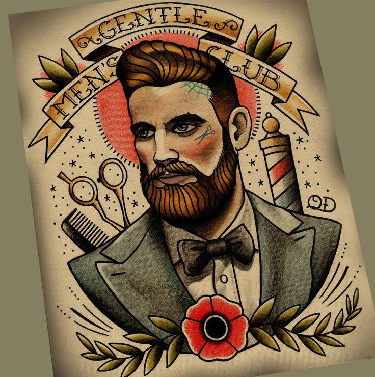 Gentlemen's Club Tattoo Art Print by ParlorTattooPrints on Etsy