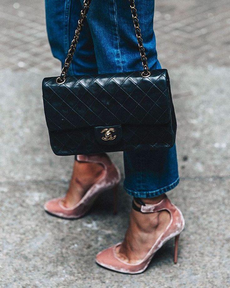Chanel bag + pink velvet heels + jeans.