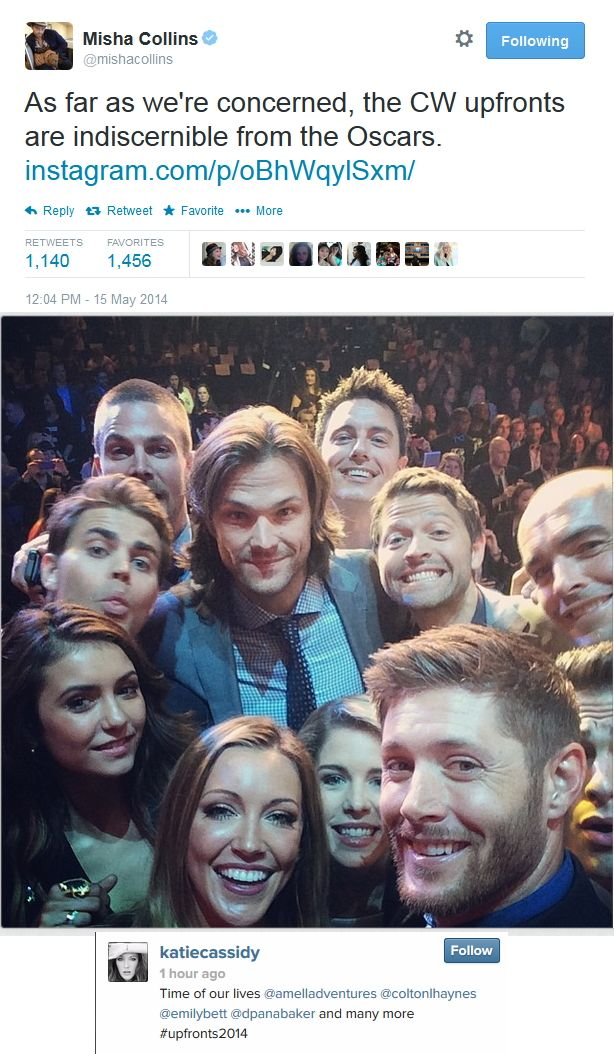 CW Upfronts 2014 - Misha tweeted the link to Katie Cassidy's IG with a group selfie - Love that Jared dominates the pic with Stephen Amell and John Barrowman trying to see over his shoulder XD - #TVD #Arrow #SPN - Misha Collins, Emily Bett Rickards, Jensen Ackles, Colton Haynes