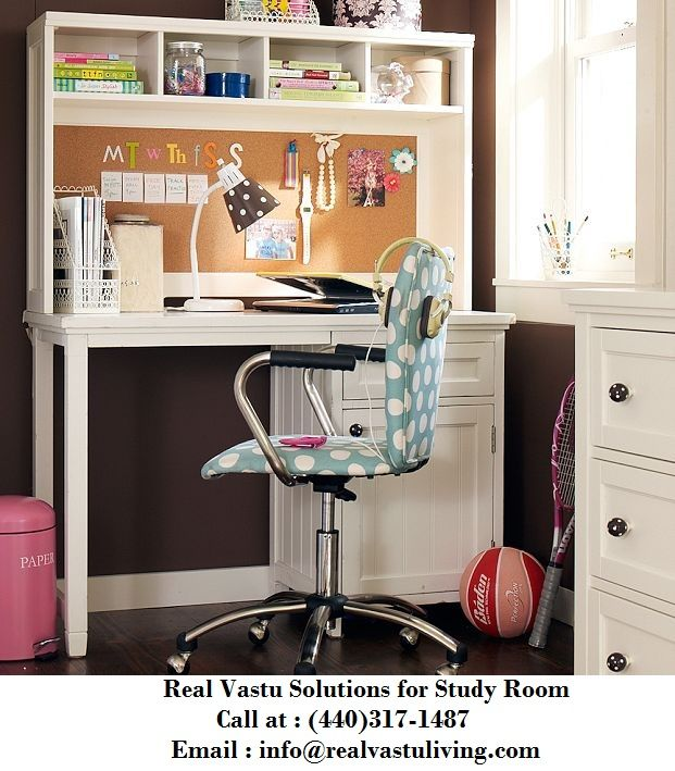 Vastu Tips of Study Room: - The placement of study table is important for concentration. You should place study table facing East or North. - Do make sure that the child should face East or North while studying. - The table should not stick to the wall. - There should be open space in front of child as it augments fresh ideas.