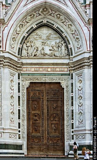 Gate of Santa Croce church in Florence. Italy
