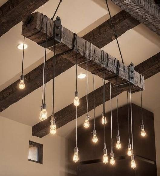 modern rustic interior design beamed ceiling with pendant lights
