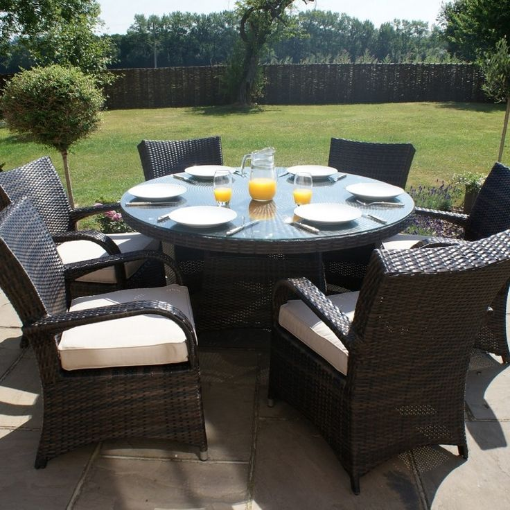 maze rattan garden furniture texas brown 6 seater round table set
