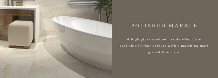 A high gloss random marble effect tile available in four colours with a matching matt glazed floor tile.