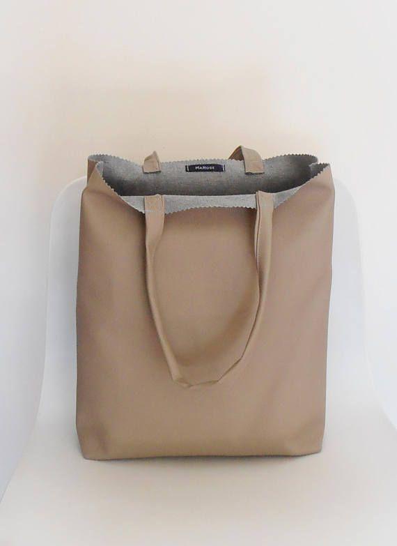 taupe kleurige Tas Tote Bag boodschappentas werktas cadeau
