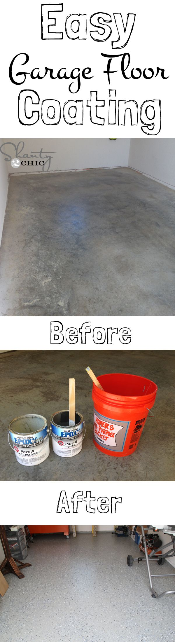 Breathe a new little life in to your garage. EASY and INEXPENSIVE garage floor makeover!