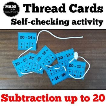 Thread cards, self-checking activity - Subtraction up to 20