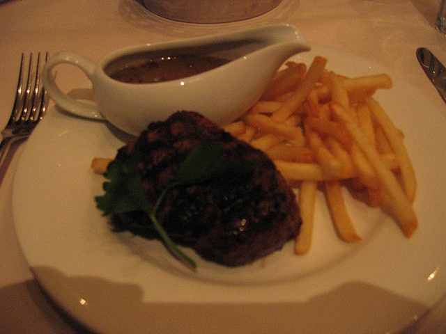 Eye fillet steak served with fries and mushroom sauce.    The steak was cooked to my request with was medium. What seems to let it down was the mushroom sauce was a little on the salty side. As well as the steak in tasted a little salty, not sure if th That looks really Yum Yum :-)Mushroom Sauce, Salty Side, Yum Yum, Fillet Steak, Steak Servings, Mushrooms Sauces, Eye Fillet