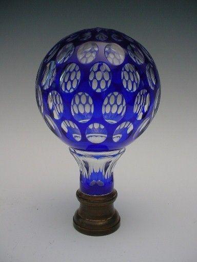 8 antique french blue cut to clear newel post boule d 39 escalier glass pinterest posts. Black Bedroom Furniture Sets. Home Design Ideas