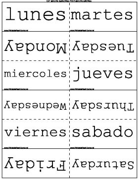 Learn the days, months and seasons in both English and Spanish in these second language flash cards Free to download and print