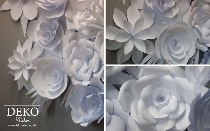 DIY: romantische Papierblütenwand aus Kopierpaier einfach selber machen! Tutorial auf www.deko-kitchen.de