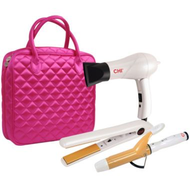 Chi 174 Travel Flat Iron Hair Dryer And Curling Iron In Pink