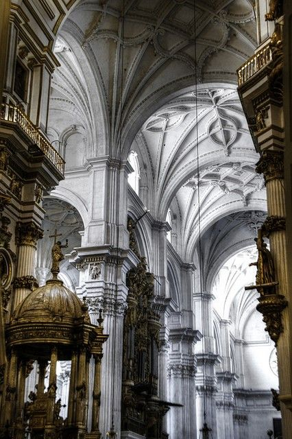 Cathedral side nave ceiling. Granada, Spain