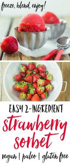 Easy 2-Ingredient Strawberry Sorbet