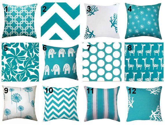 SPRING SALE - Turquoise Throw Pillow - Premier Prints True Turquoise Decorative Throw Pillow -- Free Shipping