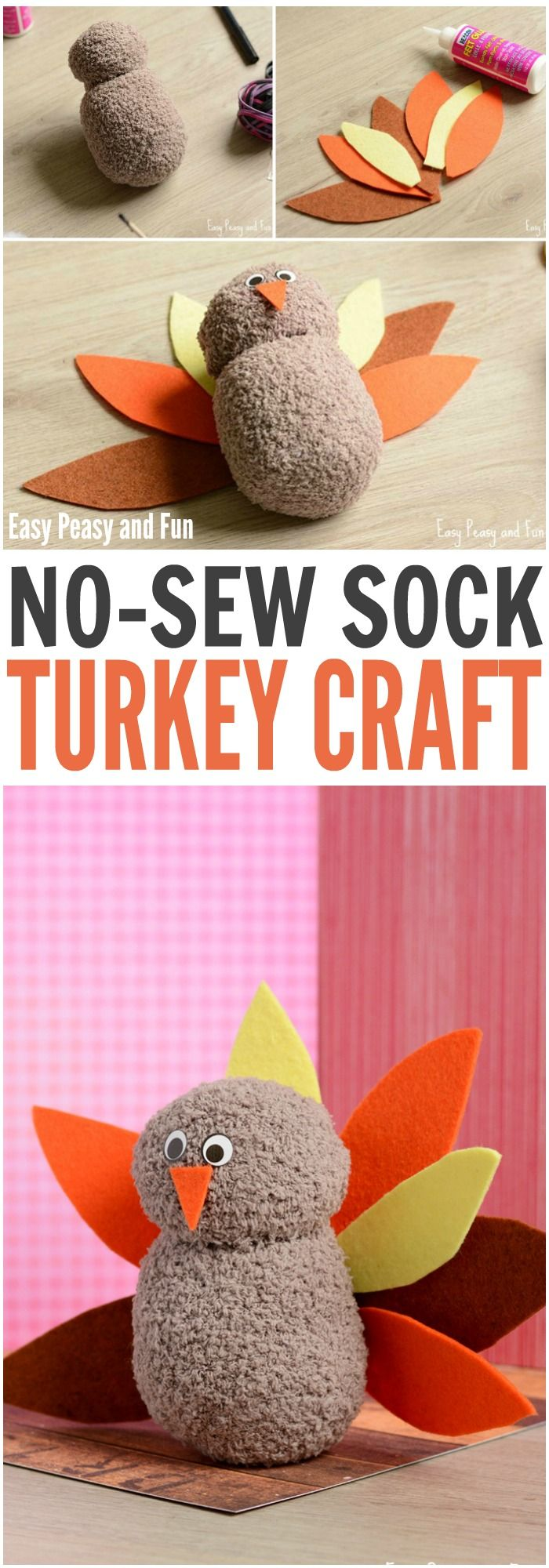 Check out his adorable no-sew turkey craft! Perfect Thanksgiving  craft!