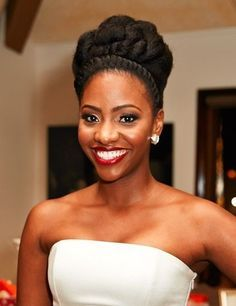 wedding updo for natural hair -- This is #37  http://therighthairstyles.com/20-chic-wedding-hair-updos-for-elegant-brides/37/