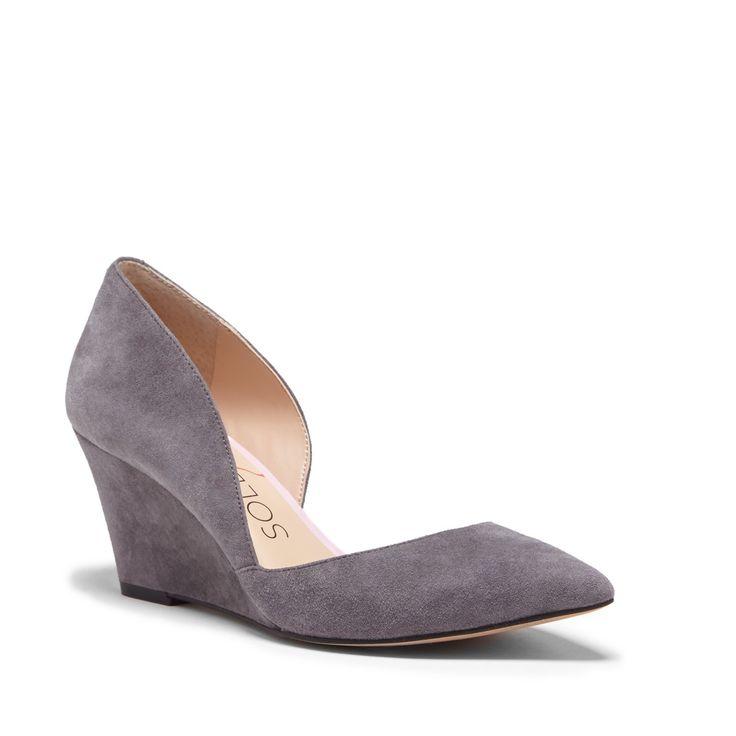 Women's Metal Grey Suede 2 1/2 Inch D'orsay Wedge | Jillian by Sole Society