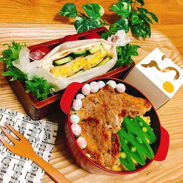 * ワンパク(雑)サンド 蓋が しまらないよ🙋 * ・ 美味しいコーンコロッケ🌽を挟んでワンパクに雑なガサツサンド(笑)いや〜我ながら すこぶる、『雑』🙋 ・ 河北潟ポークの塩焼きと 炒り卵の乗っけ丼をココポットに🙋不室屋さんの おやつ麩『チーズ』これ かなり美味しすぎる😋❤️ ・ 今日 27℃ ??🌞🌞🌞 暑っ!!! ・ 2017.4.17 初夏? ・ ・ ・ #foodpic #lunch #instafood #lin_stagrammer #デリスタグラマー#オベンタグラム #お弁当記録 #お弁当#女子高生弁当 #クッキングラム #おうちごはん #おひるごはん #obento #暮らし#暮らしを楽しむ #丁寧な暮らし #田舎暮らし #野菜#オーガニック #河北潟 #ポーク #肉#わんぱくサンド #ピアノ#娘