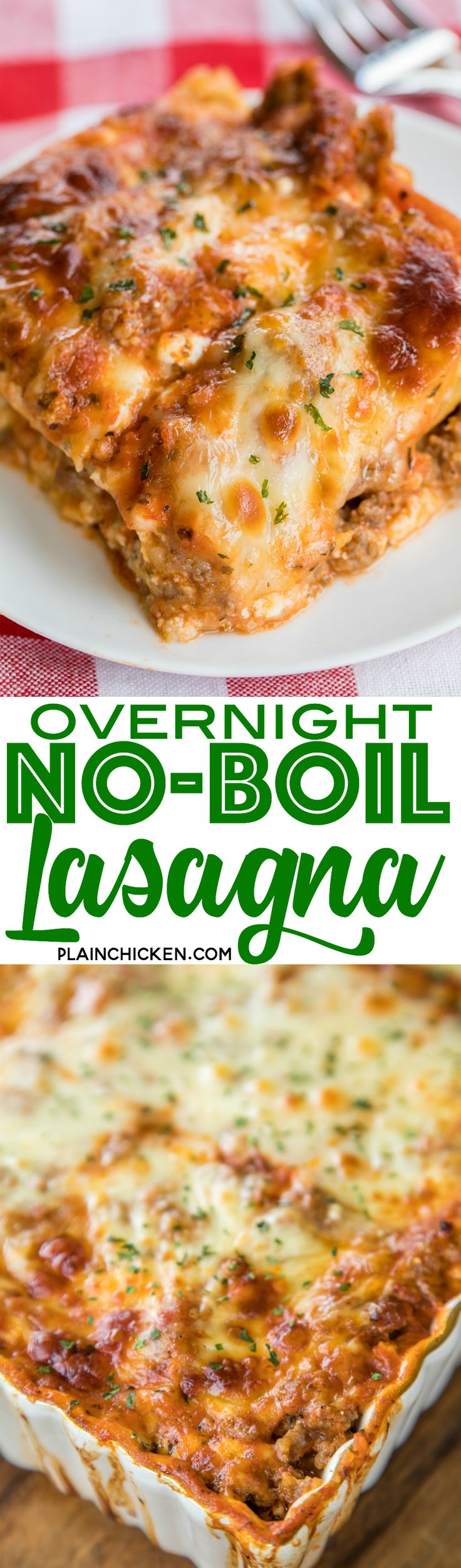 "Overnight No-Boil Lasagna - seriously THE BEST lasagna we've ever eaten!!! SO easy to make and you don't have to boil your noodles! The noodles ""cook"" overnight and are perfect. Lasagna noodles, cottage cheese, italian sausage, spaghetti sauce, water, mozzarella, garlic and parmesan. Serve with some garlic bread and a salad. Can freeze leftovers for later. We LOVE this lasagna casserole recipe!!! #lasagna #casserolerecipe #lasagnarecipe #pastarecipe"