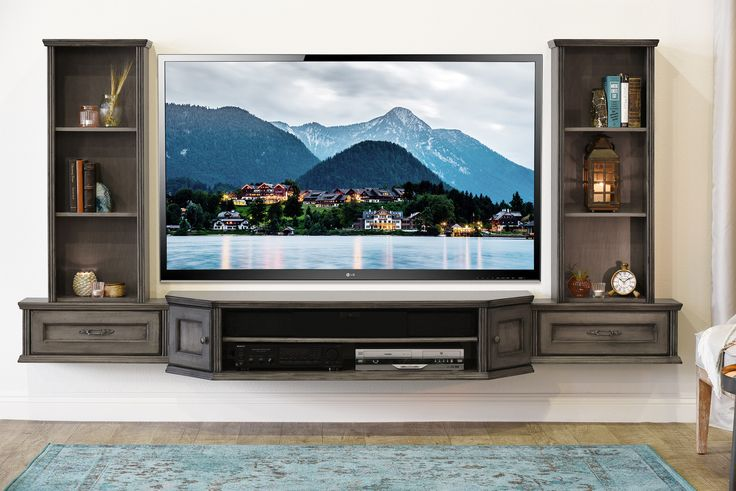 French shabby chic floating tv stand entertainment center wall vintage 3 piece bookcases for Floating tv stand living room furniture