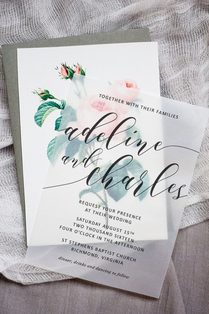 wedding invitation email free%0A Make these sweet floral wedding invitations using nothing more than a store  bought template  vellum