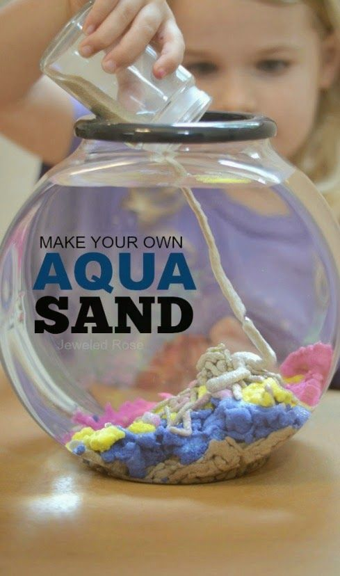 Make your own aqua sand- this stuff is SO COOL! You can build underwater castles and sea sculptures, and the sand comes out of the water DRY