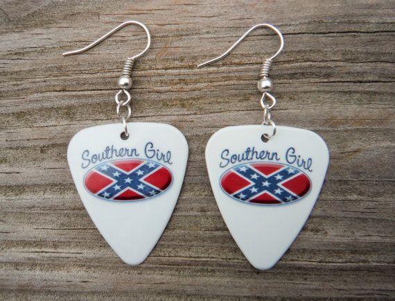 Southern Girl rebel flag guitar pick earrings by Featherpick, $7.00