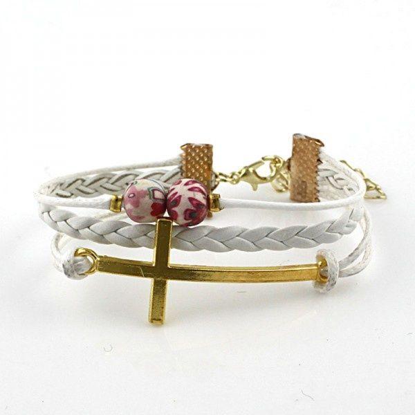 Witte armband met kruis #004KR