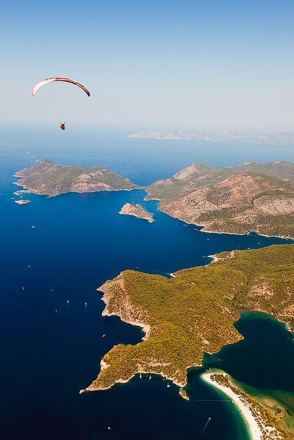 An aerial view over Oludenize shows why it is consistently rated as one of the worlds most beautiful beaches. The resort is also famous for its paragliding opportunities. It is regarded as one of the best places in the world to para-glide due to its unique panoramic views and the Babadag Mountain's exceptional height.Oludenize is located in the Mugla Province the South West coast of Turkey.