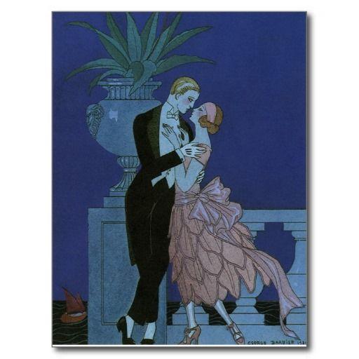 Vintage Art Deco Love Romance Newlyweds Wedding Post Cards
