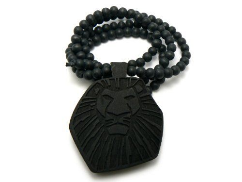 Black Wooden Lion King Pendant with a 36 Inch Wooden Beaded Necklace JOTW. $9.95. Great Quality Jewelry. 100% Satisfaction Guaranteed!