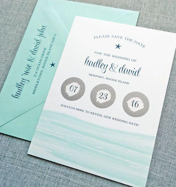 Hadley Aqua Watercolor Waves Beach Scratch Off Wedding Save the Date