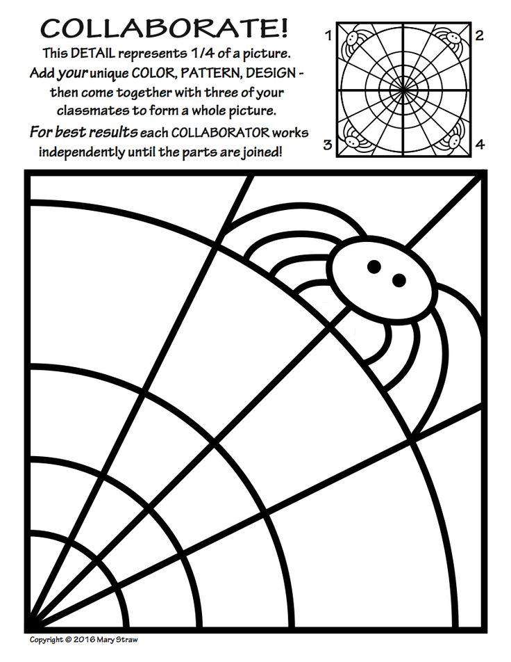 20 original tiles to decorate - then collaborate - for a rad radial artwork! Halloween, spiders, spider web, symmetry, collaborative activities, art and classroom sub lessons.