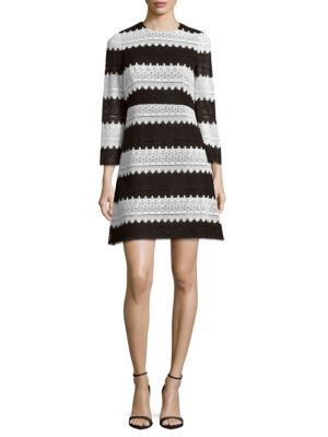 JILL JILL STUART Striped Lace Fit-And-Flare Dress. #jilljillstuart #cloth #dress