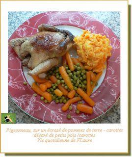 Pigeonneau, sur un écrasé pommes de terre - carottes, décoré de petits pois /carottes