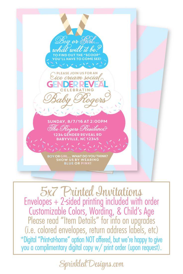 ice cream social gender reveal invitation