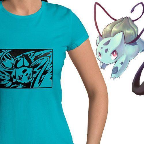 Pokemon Bulbasaur Vine Whip Attack Anime Top Tee Womens Juniors Crew T-Shirt