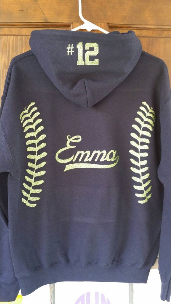 Softball Hoodie personalized in your color choice. by AndMore2004