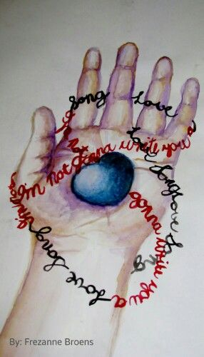 'Blue Heart, Hand & Words' - A combination of pencil sketch and watercolour piece I did back in 2008. Inspired by one of my favourite songs at the time. :)