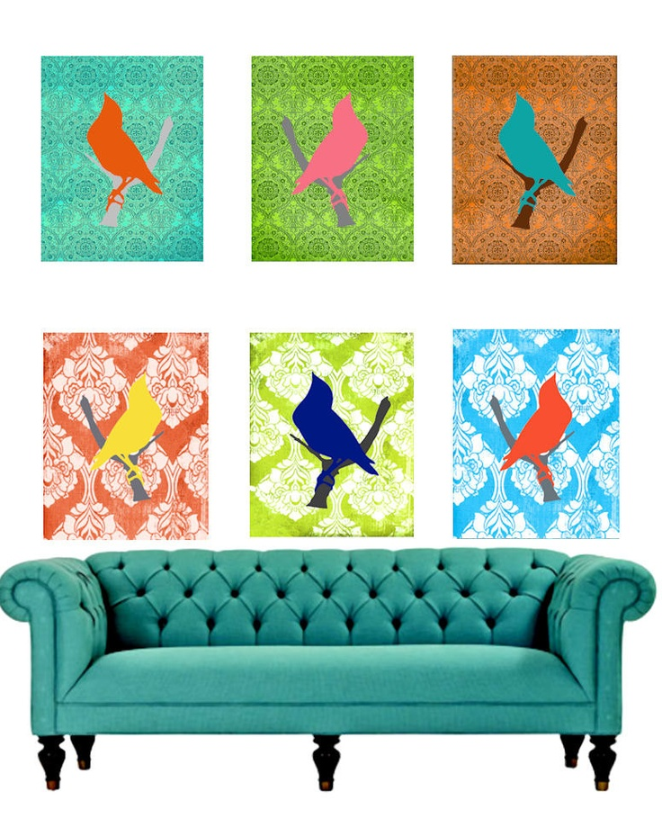 Sale Modern Wall Art Set Bright Damask Original Designs Home Decor Pop Art NO Shipping Cost