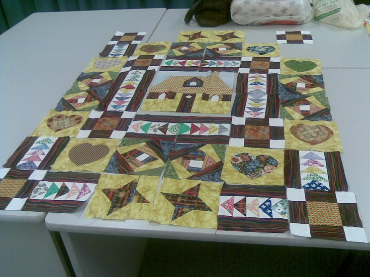 Mystery Quilt, instructions given  each month for the next block. Still deciding how to put it all together.