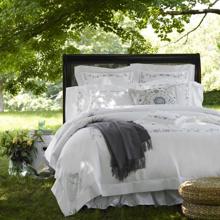 beautiful and romantic floral embroidered white sheets duvet covers and shams in dark khaki and white sferra janella at j brulee