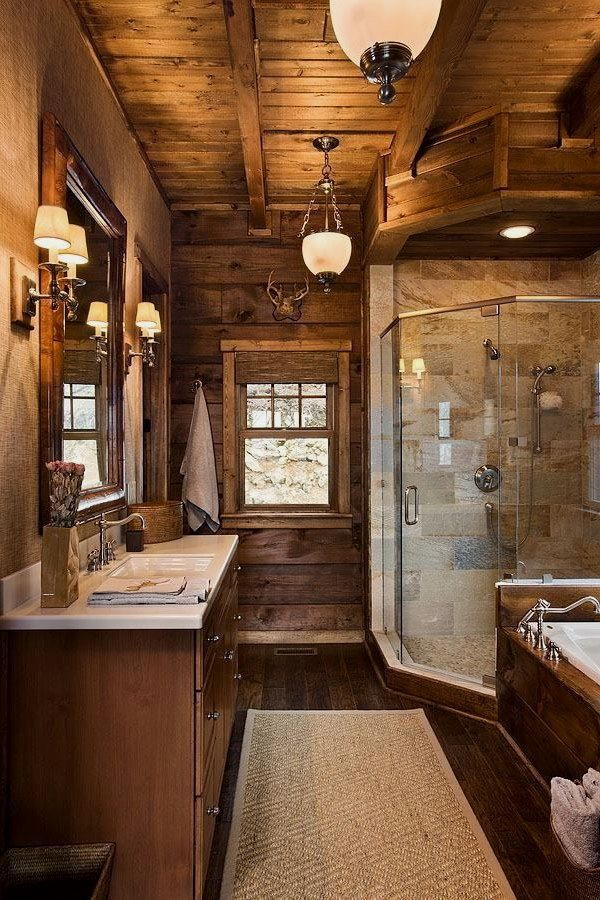 Beautiful Rustic Bathroom Lighting Designs To Complete Your New Spa In A Cottage Rustic Bathroom Lighting Design No Log Homes Log Cabin Homes Cabin Homes