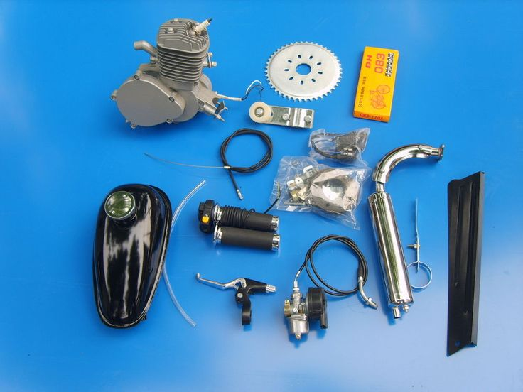 PK80 80cc Bike Engine Motor Kit Gas Motorized Bicycle 2-Stroke Silver T80 40+MPH
