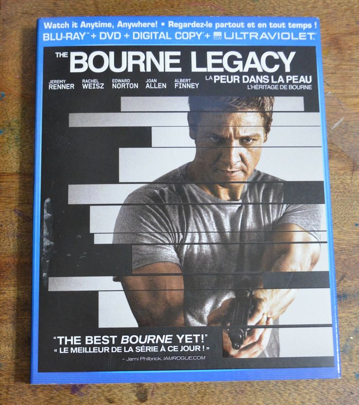 The Bourne Legacy. Blu-Ray + DVD+ Digital Copy + Ultraviolet.$8 . Never watched, brought home opened, then realized hubby had it already.