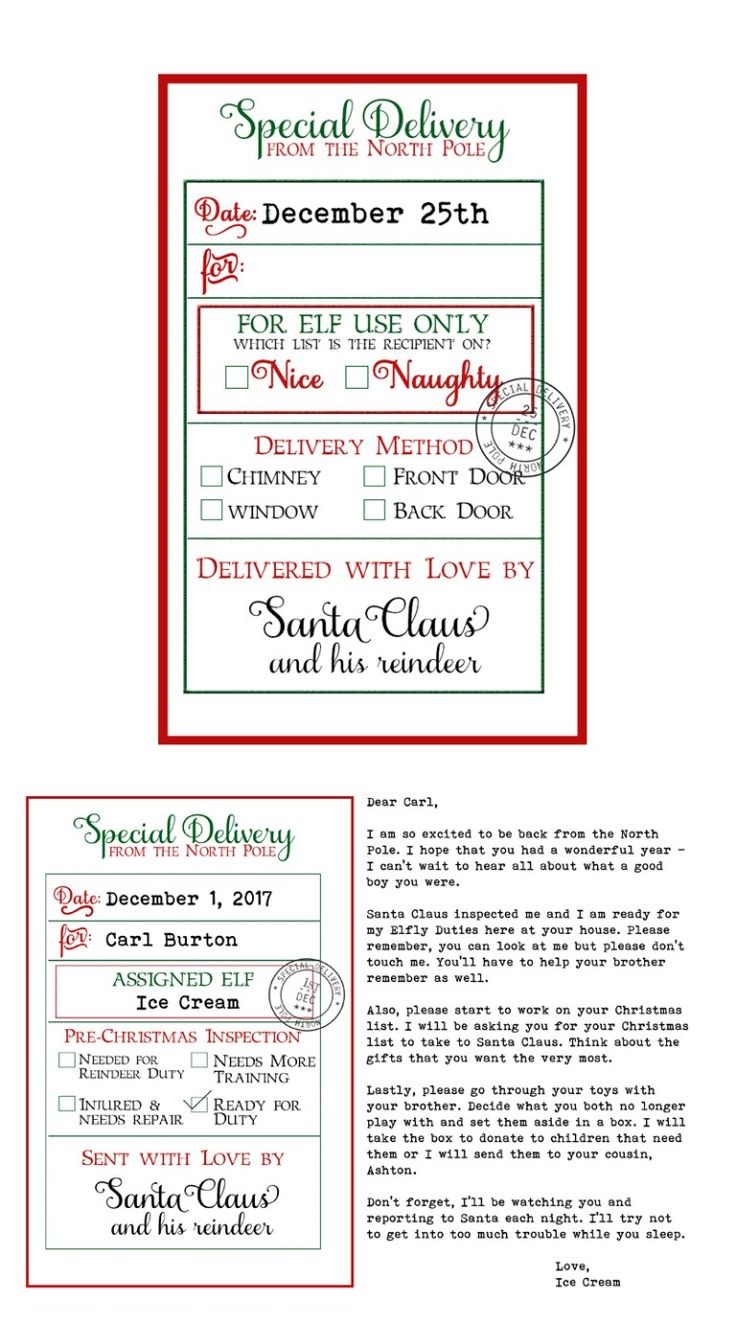 Free Custom Santa Gift Tags and Elf Arrival Letter 3