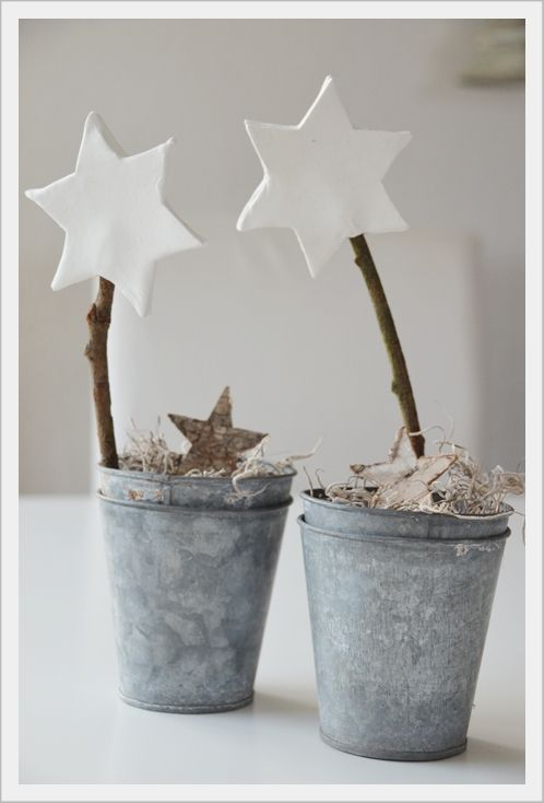 Christmas Star Trees In Little Zinc Buckets Xmas Decoration Weihnachtsdekoration D Coration No L