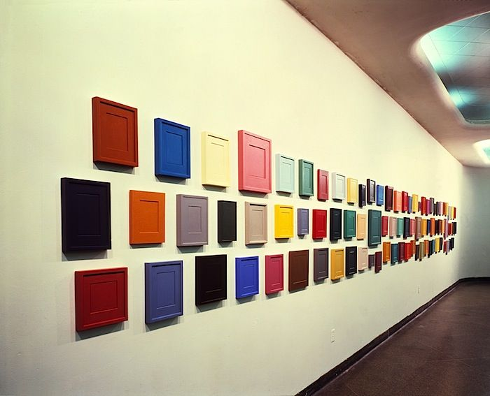 """Works from Allan McCollum's series, """"Surrogate Paintings,"""" 1978-82, on display at 112 Workshop, New York, 1979."""