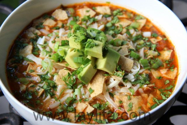 Turkey tortilla soup   Tortilla soup made with turkey, cilantro, onions, garlic, jalapeños, tomatoes, spices, stock, lime juice and served with monterrey jack cheese, tortilla chips, and avocado.